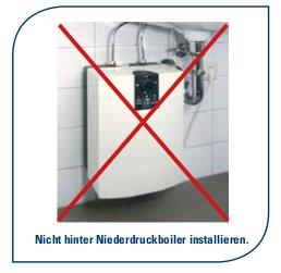 nicht an einem Wasserfilter Niederdruckboiler installieren